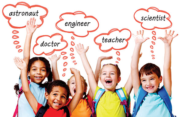 Happy kids thinking of future careers